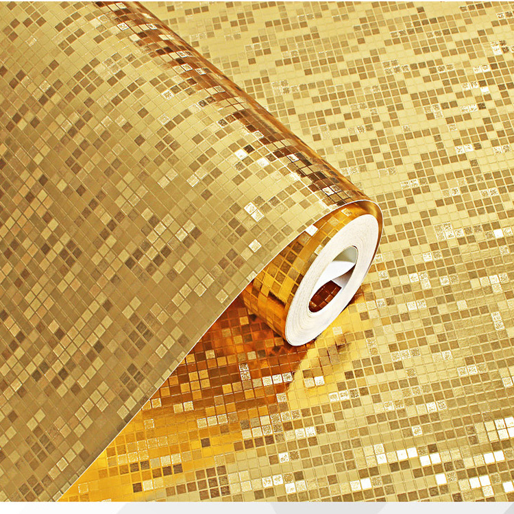 Gold Silver Foil Wallpaper Luxury Glitter Mosaic metallic For Living room Background Golden Lattice Gram Wall paper(China (Mainland))