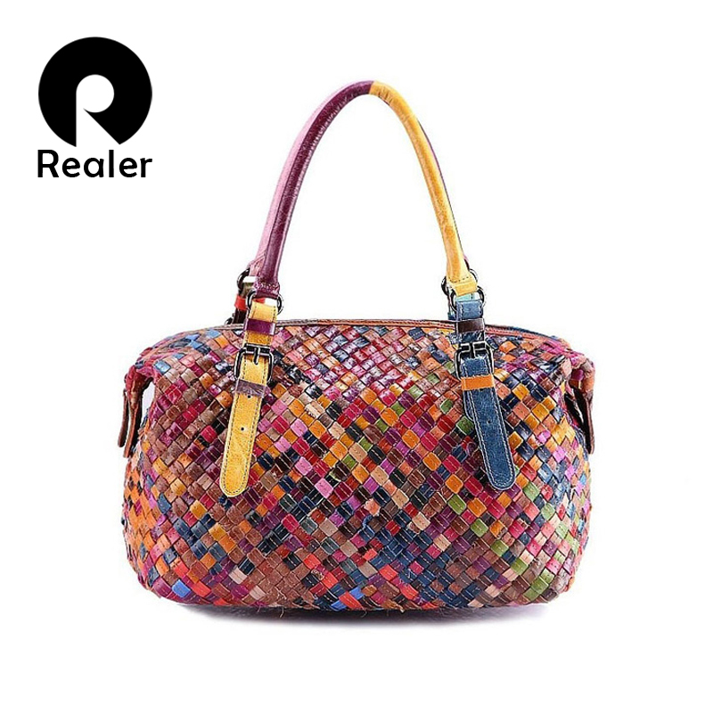 100% women handmade bags leather handbag Colorful Sheepskin Patchwork genuine leather woven bag knitted Real leather Tote bag(China (Mainland))