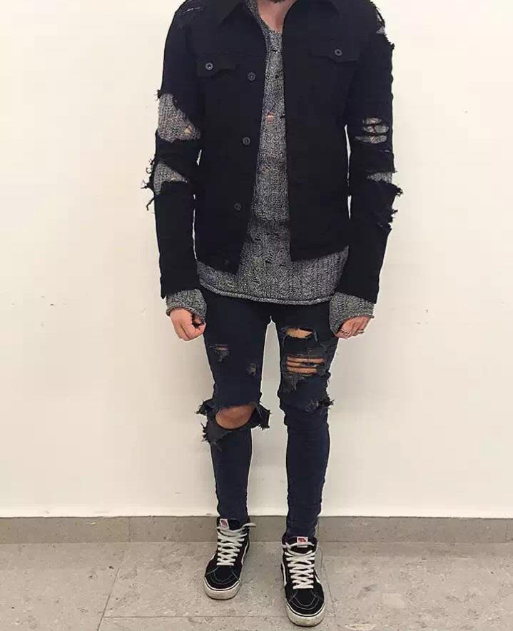kpop mens designer clothes balman slp fear of god S-XXL hip hop blue/black moto rock star distressed ripped skinny jeans men Одежда и ак�е��уары<br><br><br>Aliexpress