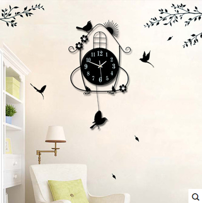 Luminousness fashion Large swing bird iron living room wall clock modern brief rustic silent watch(China (Mainland))