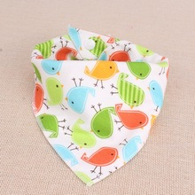 Baby Bibs Triangular Bandage Double Cotton Printed Cartoon Prevent Saliva Children Buckle Triangle Towel Baberos 3 Pcs WD006 (China (Mainland))