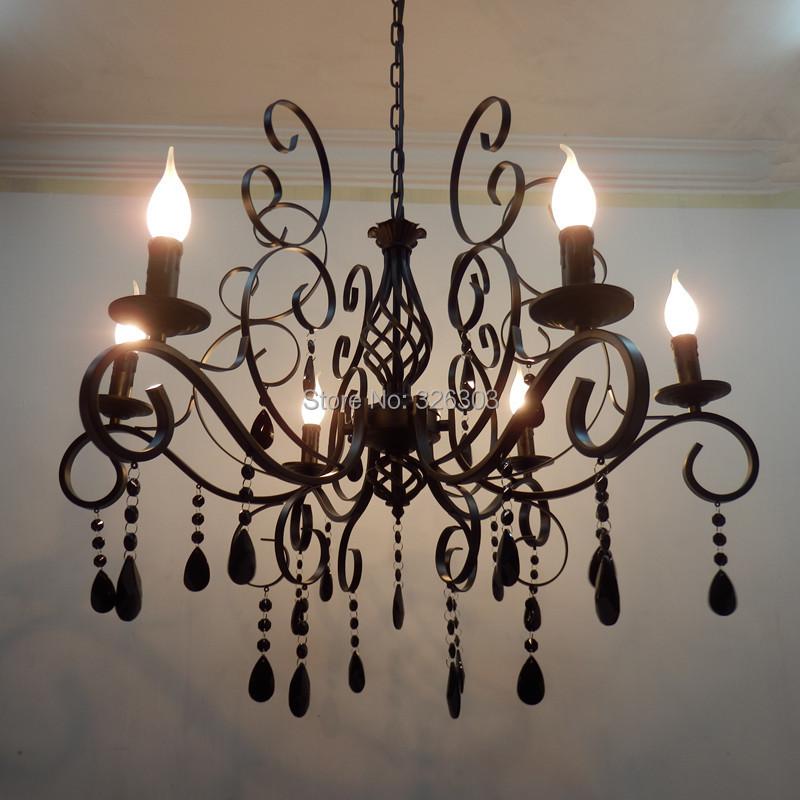 6 lights European chandeliers wrought iron chandeliers  : 6 lights European chandeliers wrought iron chandeliers living room dining room chandelier black crystal chandelier from www.aliexpress.com size 800 x 800 jpeg 136kB