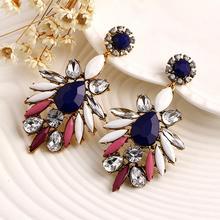 1 Pair Fashion Women Bohemian Alloy Rhinestone Crystal Flower Elegant Dangle Hook Earrings #74891(China (Mainland))