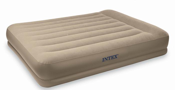 Deluxe Double air mattress  built pump stripe thicker cushion bunk bed<br>