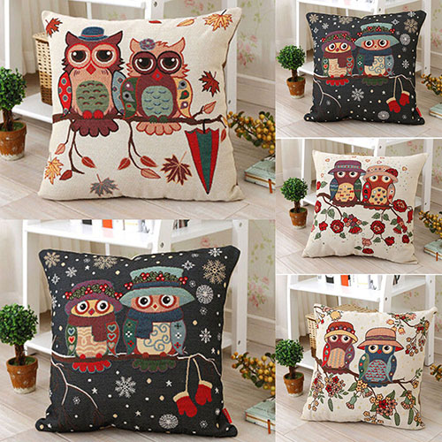 Best Selling Vintage Cute Owl Cotton Linen Pillow Case Sofa Throw Cover Home Decor AJ1G(China (Mainland))