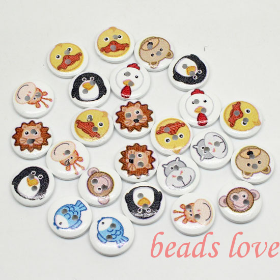 """5Mixed 2 Holes """"animal"""" Cartoon Wood Sewing Buttons Scrapbooking 15mm Knopf Bouton(w02786) - monstar store"""