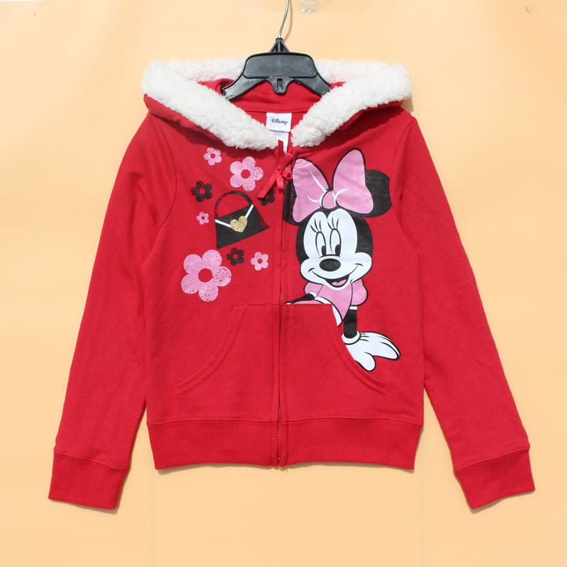 Здесь можно купить  Free Shipping 6 Pieces/lot 2-6x Girl Spring Cotton terry Hooded Jacket  Red Cute Minnie Cardigans Zipper Coat  Детские товары