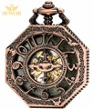 2017 SEWOR Top Brand Fashion Super high popularity Castle style Animal Cross Mens Copper Pocket Watch