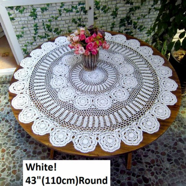 """43""""(110CM ) ,3 Colors in!,  round white Crochet Round  Tablecloths, Free shipping!    NO. 0870"""