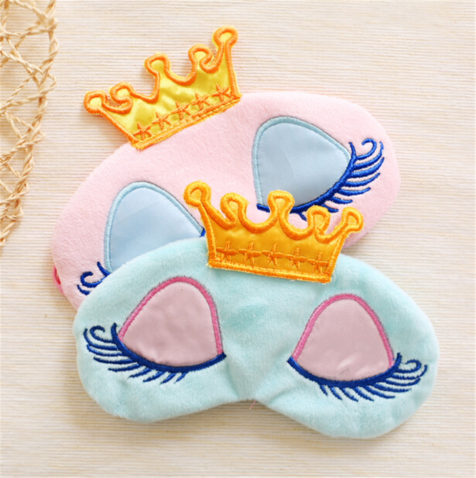Lovely Pink/Blue Crown Eyeshade, Long Eyelashes Travel Sleeping Mask, Summer Eye Cover For Women Girls