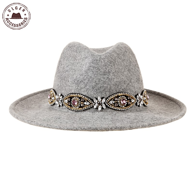 Ulgen Designed Bohemian hat with handmade diamond headband hair accessories frontlet grey wool fedoras hat for women [HUL181g]Одежда и ак�е��уары<br><br><br>Aliexpress