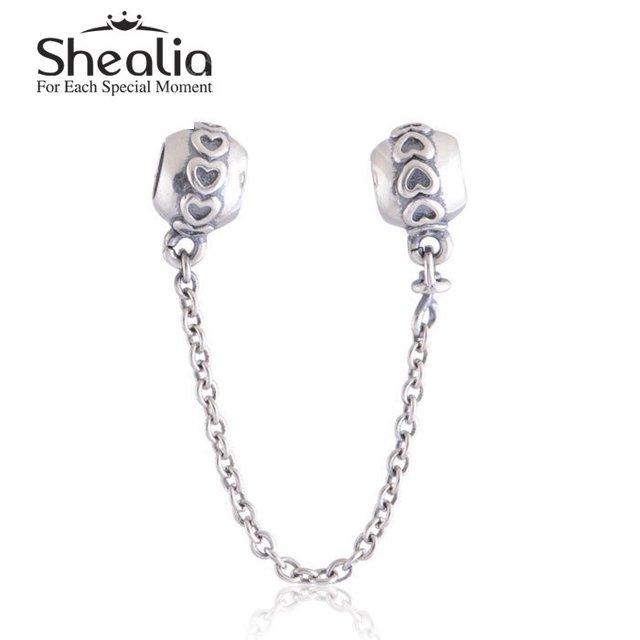 Аутентичные стерлингового серебра 925 любовь сердца безопасности DIY SHEALIA ювелирные изделия подходит шарма SF201