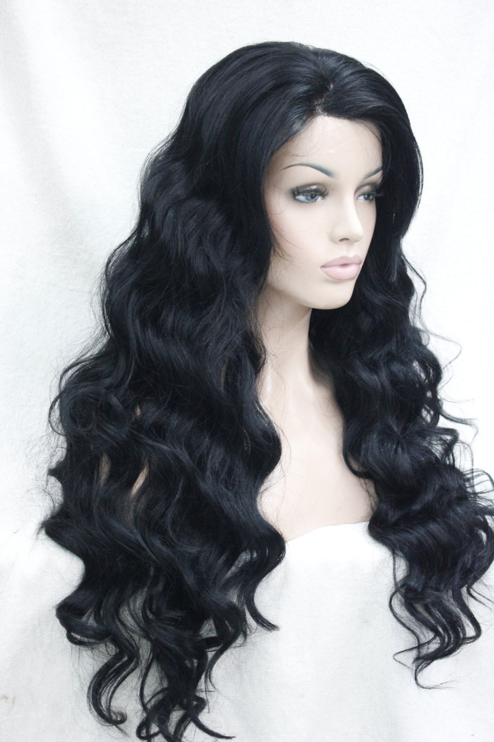 Фотография 0000120 Very quality good fashion long synthetic jet black Lace Front Wig Wavy wigs