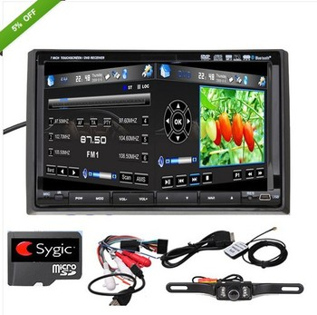 "Car Radio CD Head 2 Din 7"" Car GPS Nav DVD Radio Player AUX Ipod Bluetooth+Camera"