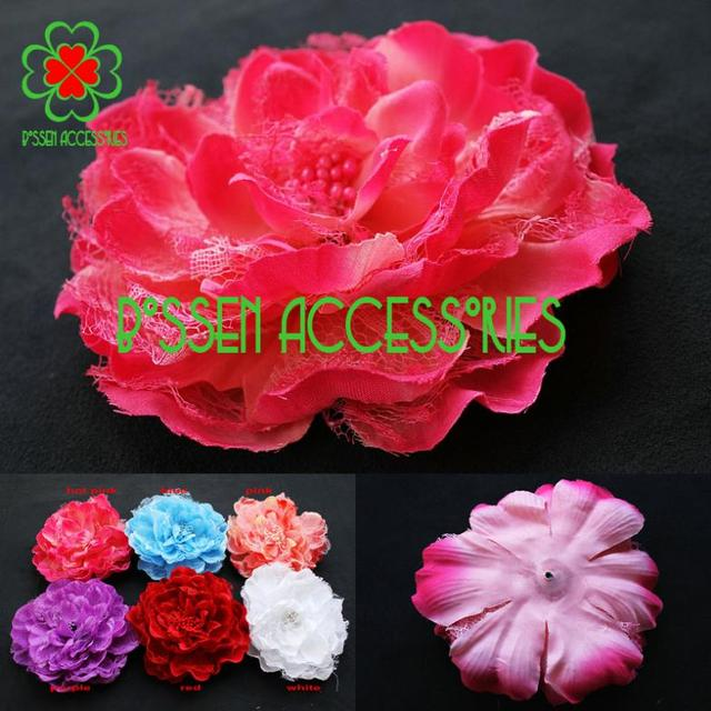 (10 pieces/lot) 5.5 inches huge big quality lace silk flower, baby headband,girls hair clip accessories