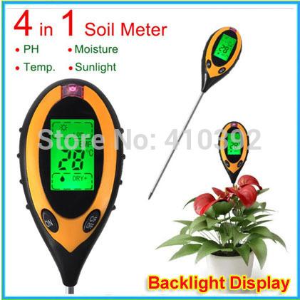 1 pcs Digital 4 in 1 Garden Plant Soil Survey Instrument Sunlight/Moisture/Light/PH Tester Meter + register shipping<br><br>Aliexpress