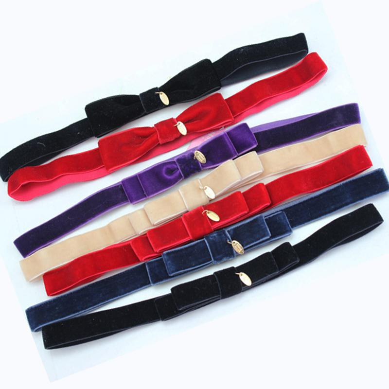Wholesale12pcs Simple Velvet Bow Headwrap Elastic Hairband with Pendant Ladies Chic Headband New Women's Hair Accesosries(China (Mainland))