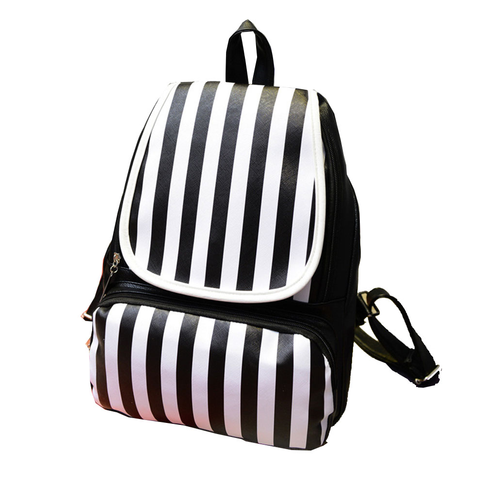 2016 Girls Backpack Classic Stripe Black and White School Bags for Teenager Girl with Double Single Solid Pocket Satchel Mochila(China (Mainland))