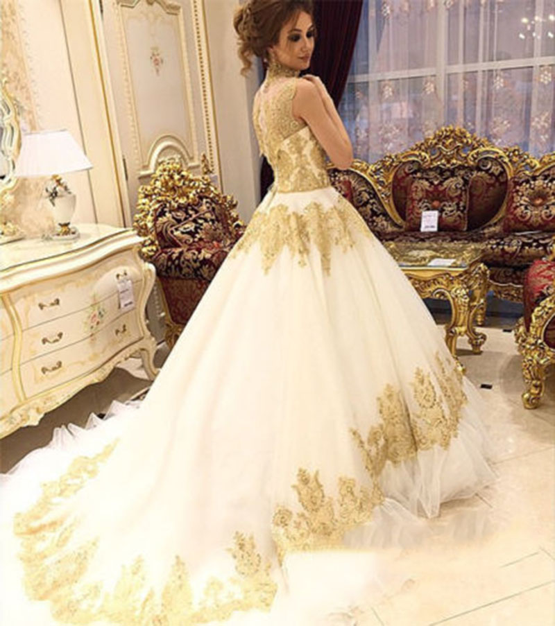 Buy white ivory wedding dress gold high for White or ivory wedding dress