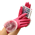 Good looking Women PU Leather Winter Super Warm Faux Fur Gloves