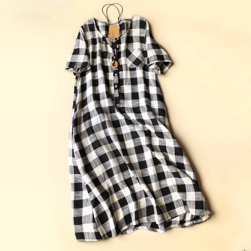Dress summer new large size women's cotton dress shirt plaid Art Ladies Boutique fashion loose casual dresses(China (Mainland))