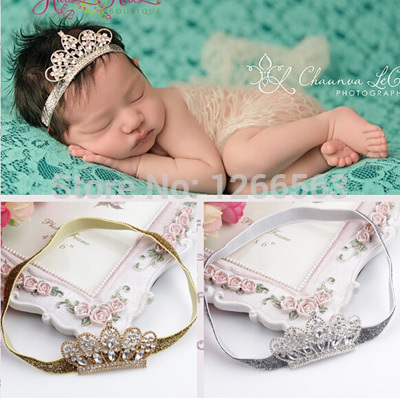Lovely Princess Crown Headband Baby Girl Hair Accessories Tiara Infantil Elastic Hair Bands, Newborn Baby Headbands Photos(China (Mainland))