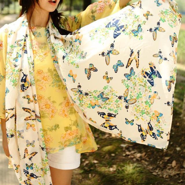 160 * 70 см оптовая продажа нью-шарф красочные картины бабочки шарфы женщин тонкий inmitated шелковый шифон шаль