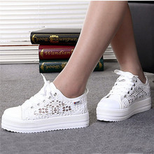Summer Women Shoes Casual Cutouts Lace Canvas Shoes Hollow Floral Breathable Platform Flat Shoe sapato feminino RD863613(China (Mainland))