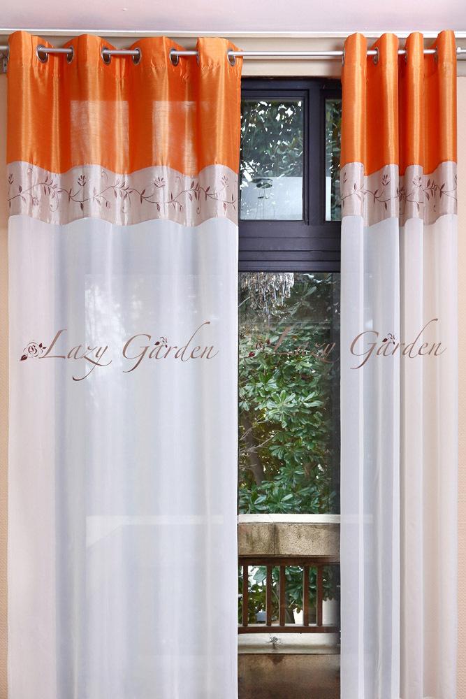 Livraison gratuite oeillet broderie voile fen tre rideaux pour salon style europ en orange et for Voile et rideaux