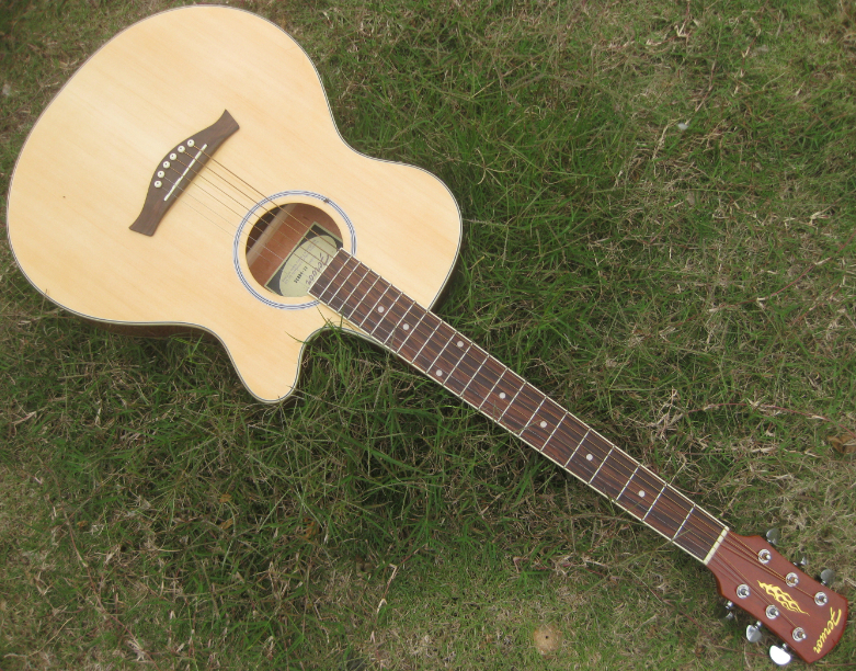 GOOD QUALITY thin body acoustic guitar with pickup(China (Mainland))