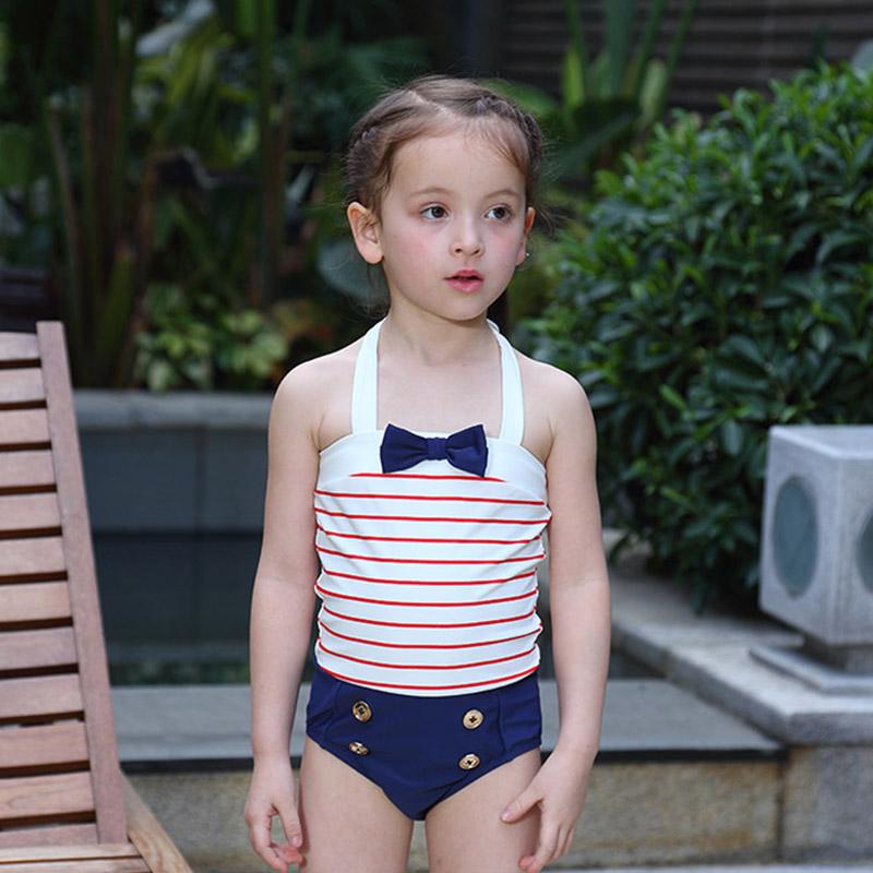 2016新しい夏水着子供水着女の子ワンピース海軍スタイル包帯スリング水着と帽子子供泳ぐ服(China (Mainland))