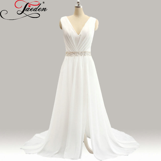 Jaeden cheap beading sashes split bridal gowns chiffon for Tailor made wedding dress