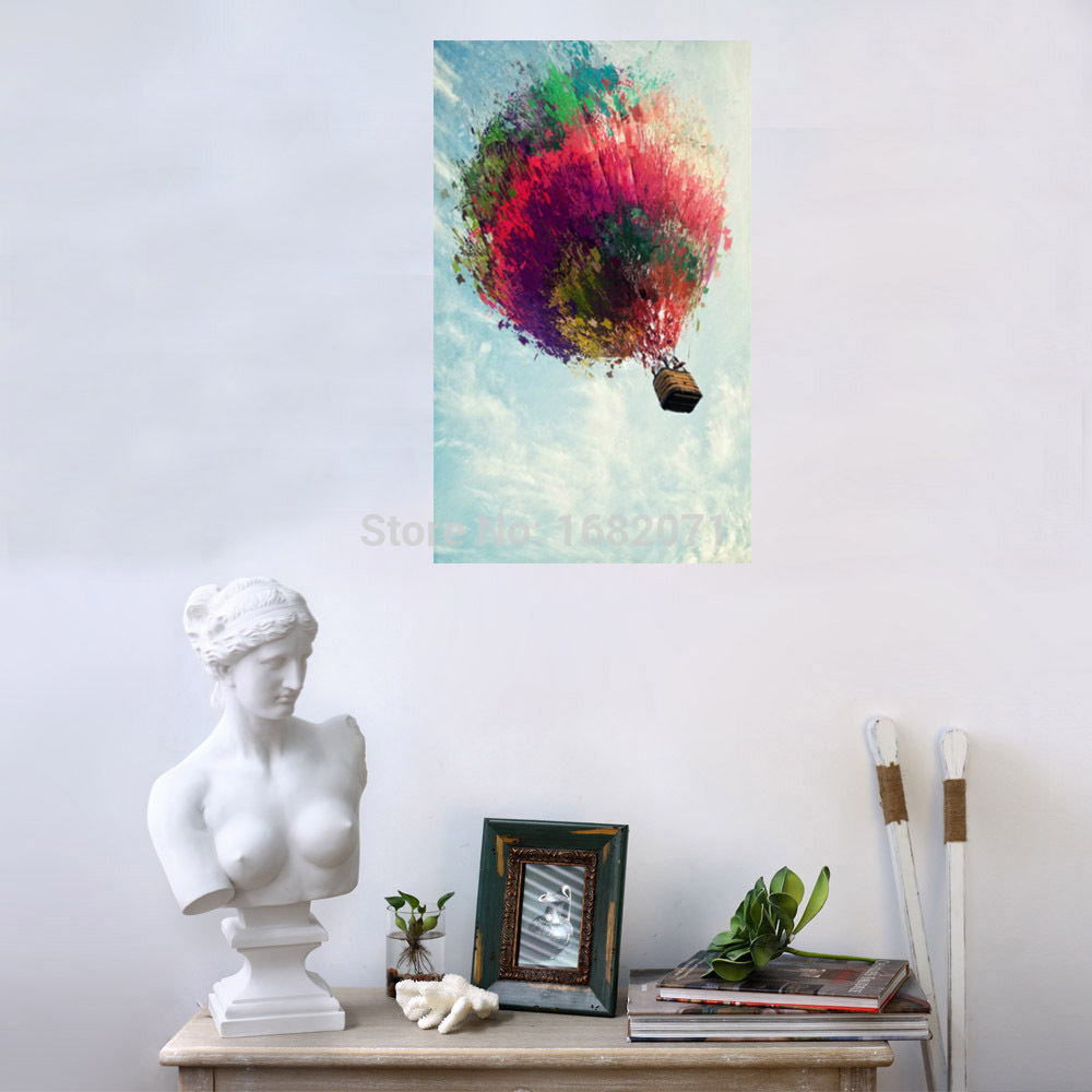 Beautiful design home wall decoration fire balloon pictures on canvas no frame oil painting - Latest beautiful wall decoration ...