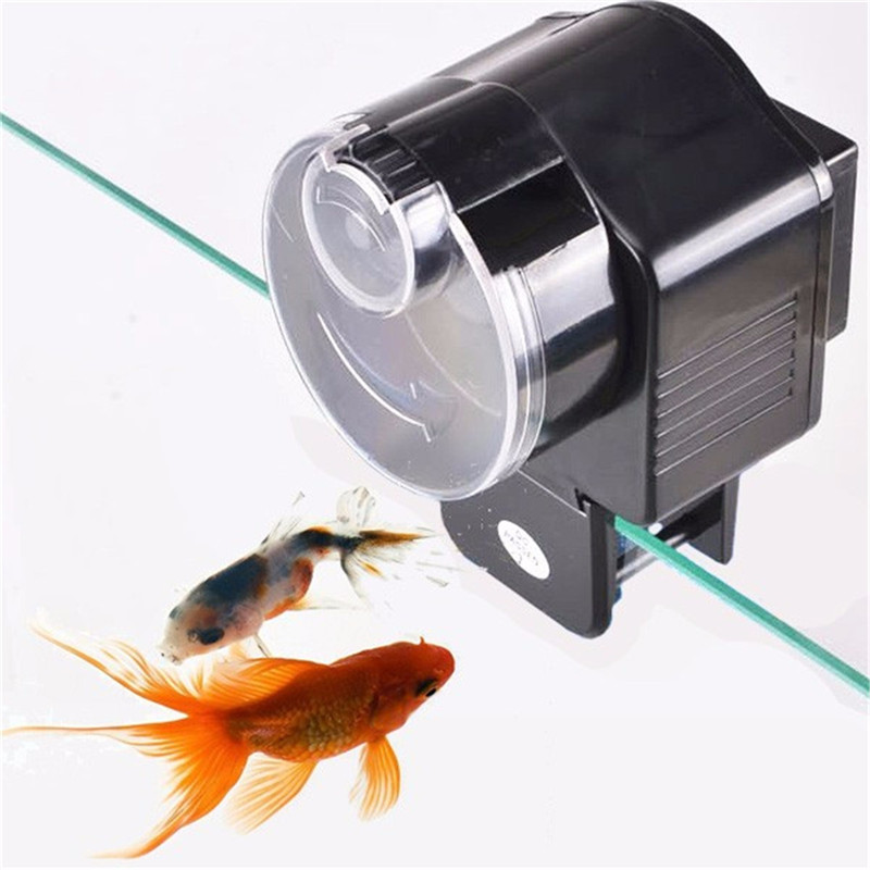 Automatic Auto Aquarium Fish Tank Bowl Food Feeding Feeder 9.1x7.5x10.8cm Plastic Black Mini Shape Space-saving Fish Feeder(China (Mainland))
