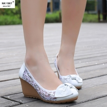 NK 1967 New Fashion Women Pumps Wedges Bowtie Mesh Patchwork Round Toe High Heels Shoes Woman Platform Casual Work Office Shoes