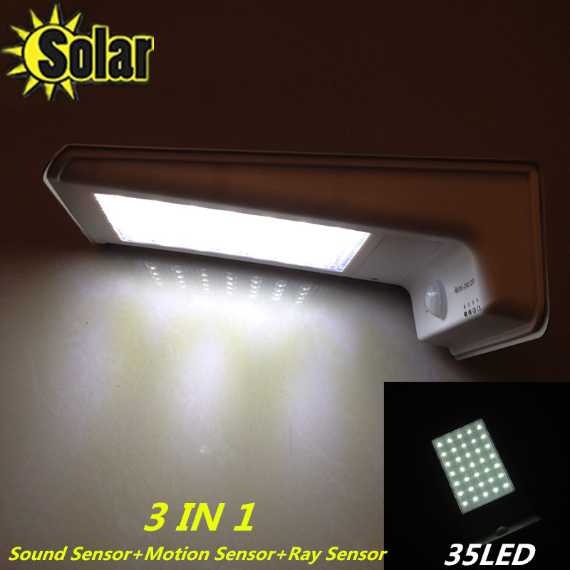 2015New arrival 35 LED Solar Power 3 in 1 Motion+Sound+Ray Sensor Garden Security Lamp Outdoor Light garden solar light(China (Mainland))