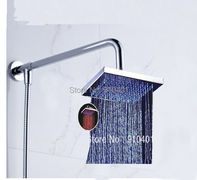 """LED Color Changing 8"""" Square Rain Shower Head + Shower Arm + Hose Wall Mounted 3 PCS(China (Mainland))"""