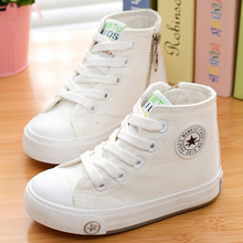 2015 spring and autumn child canvas shoes white high sneakers shoes sport shoes male shoes girls