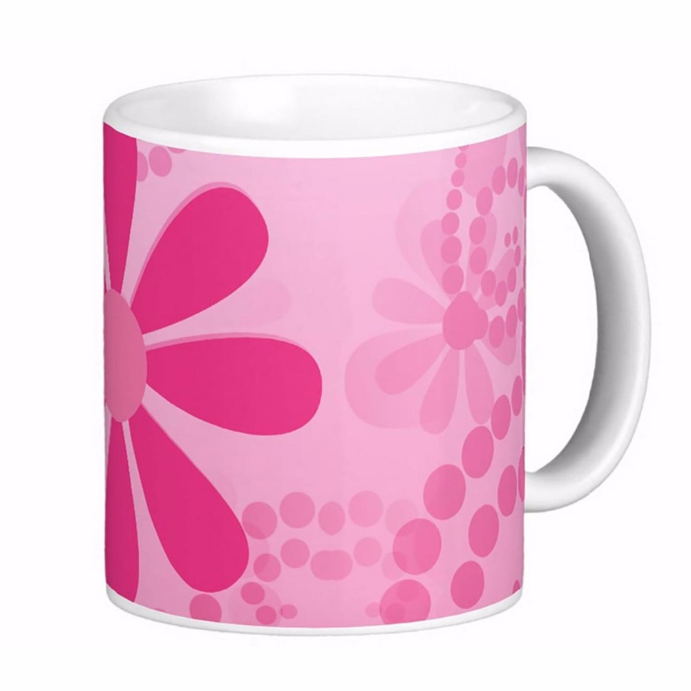 Pretty Pink Flowers Cute Daisy Pattern White Coffee mugs Tea Mug Customize Gift By LVSURE Ceramic Cup Mug Travel Coffee Mugs(China (Mainland))