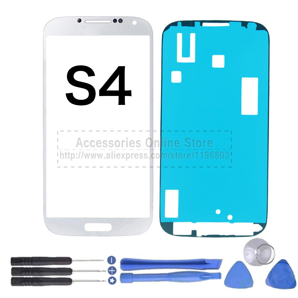 Outer Front Touch Screen Glass Panel Lens For Samsung Galaxy S4 I9500 3M Adhesive Tools White