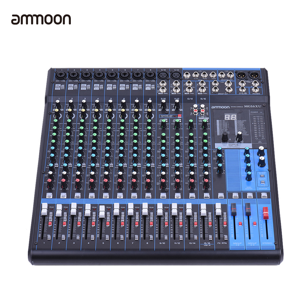 ammoon MG16XU 16-Channel 6-Bus Mic Line Audio Digital Mixer Mixing Console 3-band EQ with Built-in Effects USB Interface(China (Mainland))