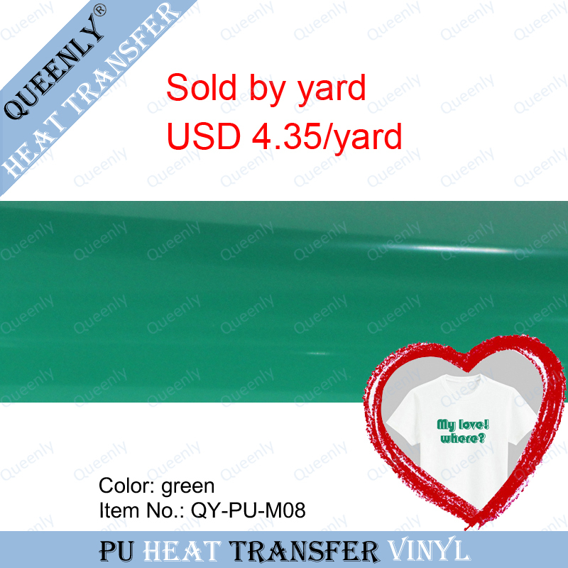 Green PU heat transfer vinyl flex vinyl transfer for t-shirt sold by yard 5 yards/pack width 18.9inch(China (Mainland))