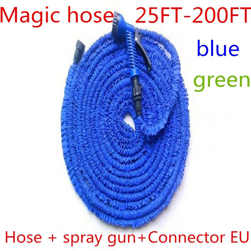 Free shipping 2016 new hot sell Magic flexible Expandable Garden Hose reels Garden Water Hose 25-200FT+spray Gun connector EU/US(China (Mainland))