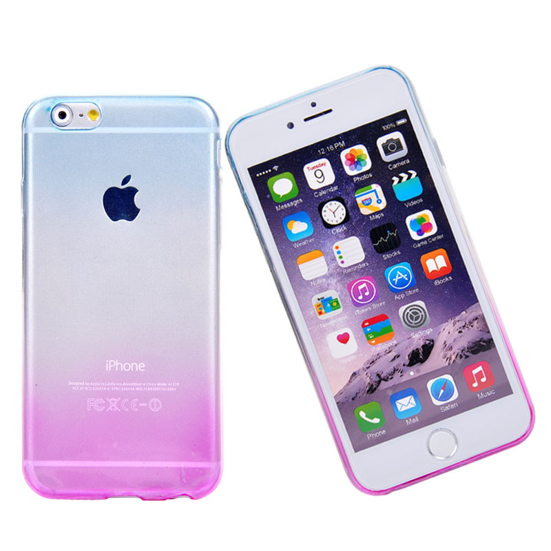 Phone Cases for Apple iPhone 6 Case Transparent Gradient Color Design TPU Silicon Phone Covers Shell Capa 4.7inch Top Quality(China (Mainland))