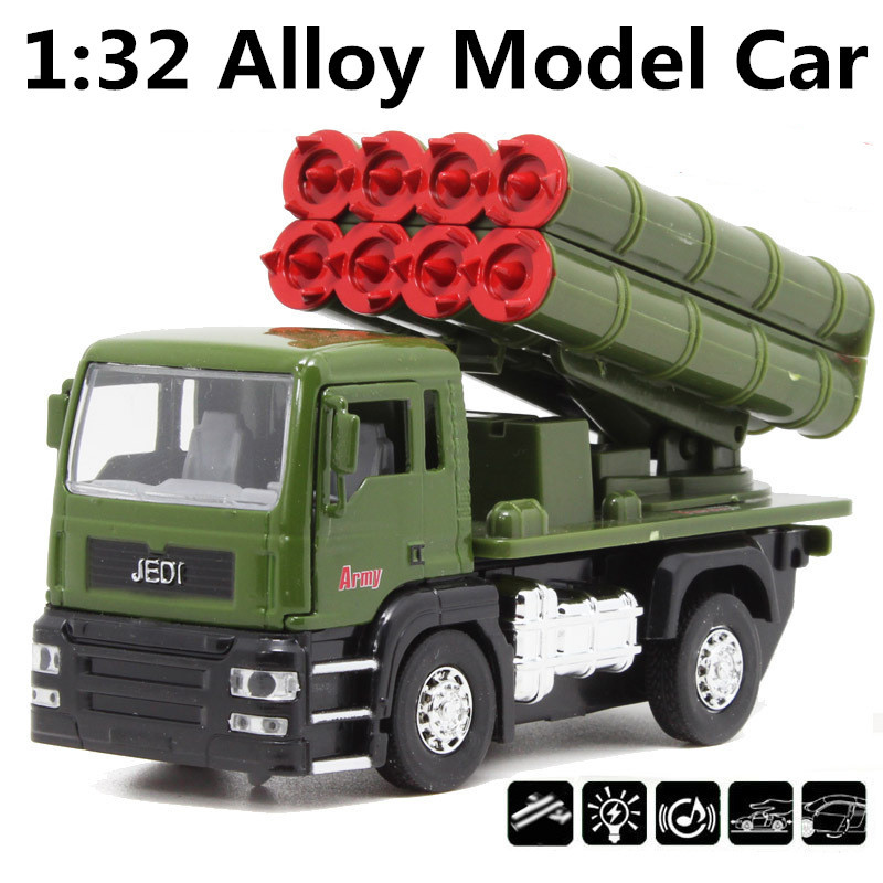 1:32 alloy Military truck,Diecast Metal Military Model,Pull back Rocket Launcher cars, Alloy gift toys car,free shipping(China (Mainland))