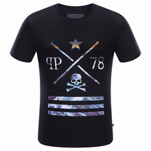 Men Brand Summer Clothing 2016 Fashion Skull Print T Shirt Men's Short Sleeve Slim Casual Tees T-Shirts Trend hip hop Tops
