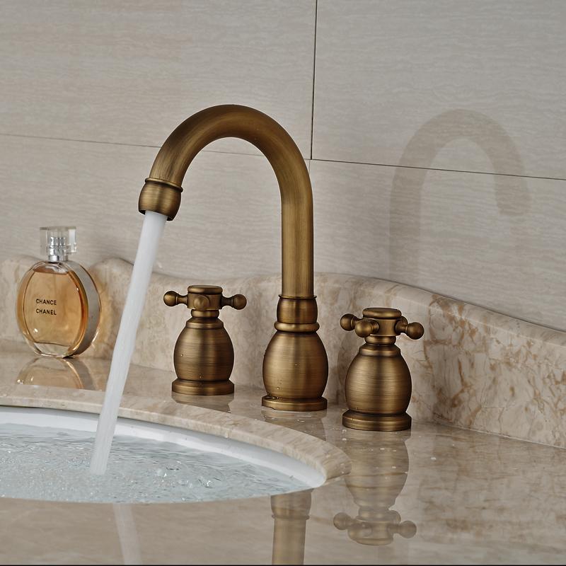 Buy antique brass dual handle basin faucet widespread 3 hole bathroom mixer - Antique peephole ...