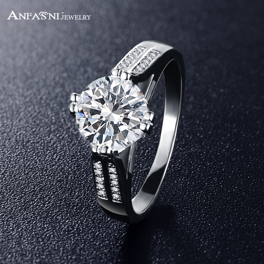 ANFASNI Hot Sell Rings Brand Design High Quality Silver Color Engagement Rings CZ Zircon Rings For Women Wedding CRI0339-B(China (Mainland))