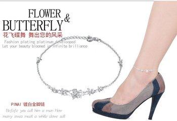 Circles Tassel 925 Sterling Silver Ankle Bracelet Chain