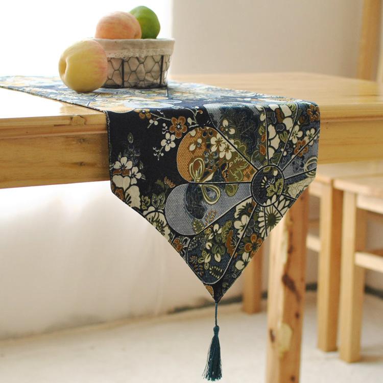 Japanese elegant linen table runner wind retro coffee table restaurant decoration flag(China (Mainland))